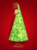 Christmas Greeting Card. Green Christmas tree with Stock Images