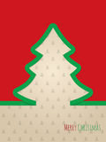 Christmas greeting card with green ribbon tree. Christmas greeting card design with green ribbon tree and christmastree pattern background Stock Image