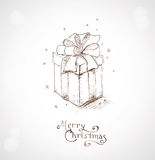 Christmas greeting card 4. Christmas greeting card. Hand draw background with xmas design and Merry Christmas lettering Stock Photography