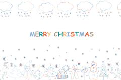 Christmas greeting card. Hand drawn holiday background with Sant. A Claus, Snowman, Fir trees, Snowflakes, Deers. Text MERRY CHRISTMAS Stock Photo