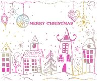 Christmas greeting card. Hand drawn holiday illustration.Text ME. RRY CHRISTMAS Stock Photography