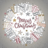 Christmas greeting card with hand drawn holiday symbols Royalty Free Stock Photo
