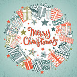 Christmas greeting card with hand drawn holiday symbols Royalty Free Stock Images