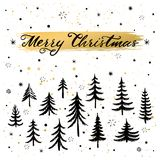 Christmas greeting card. Hand drawn lettering. Vector illustration. Christmas greeting card with christmas trees. Hand drawn lettering. Vector illustration Stock Photos