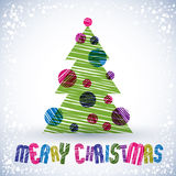 Christmas greeting card, hand drawn lines texture Stock Image