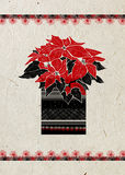 Christmas greeting card with hand drawn Poinsettia flower and festive ornament on beige rice paper background. Stock Image