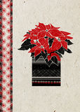 Christmas  greeting card with hand drawn Poinsettia flower and festive ornament on  beige rice paper background. Royalty Free Stock Images