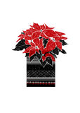 Christmas  greeting card with hand drawn Poinsettia flower and festive ornament on  white background. Royalty Free Stock Photo