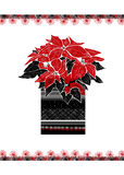 Christmas greeting card with hand drawn Poinsettia flower and festive ornament on white background. Royalty Free Stock Images