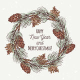 Christmas greeting card with hand drawn wreath and Royalty Free Stock Image