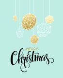 Christmas Greeting Card with handdrawn lettering. Golden, black and white colors. Trend design element for xmas Stock Images