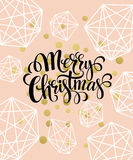 Christmas Greeting Card with handdrawn lettering. Golden, black and white colors. Trend design element for xmas Royalty Free Stock Photos