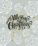 Christmas Greeting Card with handdrawn lettering. Golden, black and white colors. Trend design element for xmas Royalty Free Stock Image