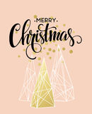 Christmas Greeting Card with handdrawn lettering. Golden, black and white colors. Trend design element for xmas Stock Image