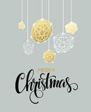 Christmas Greeting Card with handdrawn lettering. Golden, black and white colors. Trend design element for xmas Stock Photo