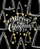Christmas Greeting Card with handdrawn lettering. Golden, black and white colors. Trend design element for xmas Stock Photography