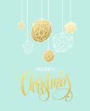 Christmas Greeting Card with handdrawn lettering. Golden, black and white colors. Stock Photo