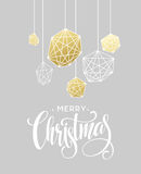 Christmas Greeting Card with handdrawn lettering. Golden, black and white colors. Royalty Free Stock Images