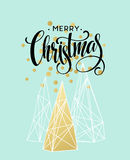 Christmas Greeting Card with handdrawn lettering. Golden, black and white colors.  Stock Images