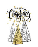 Christmas Greeting Card with handdrawn lettering. Golden, black and white colors.  Stock Photos