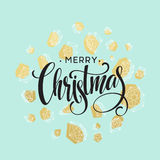 Christmas Greeting Card with handdrawn lettering.  Stock Photos