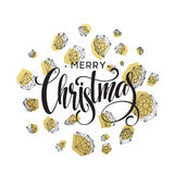 Christmas Greeting Card with handdrawn lettering. Golden, black and white colors. Royalty Free Stock Photo