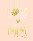 Christmas Greeting Card with handdrawn lettering. Golden, black and white colors. Stock Image
