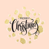 Christmas Greeting Card with handdrawn lettering. Golden, black and white colors. Trend design element for xmas Royalty Free Stock Photo