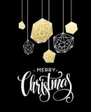 Christmas Greeting Card with handdrawn lettering. Golden, black and white colors. Trend design element for xmas Royalty Free Stock Photography