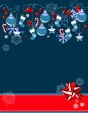 Christmas greeting card with hanging balls Stock Photo