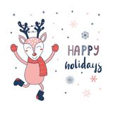 Christmas greeting card with happy deer royalty free illustration
