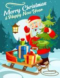 Christmas greeting card. Happy New Year design concept. Cute car stock illustration
