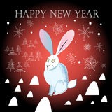 Christmas greeting card with a hare Stock Image