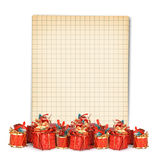 Christmas greeting card with heap gifts Stock Image