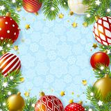 Christmas greeting card with holiday decor. On blue stock illustration