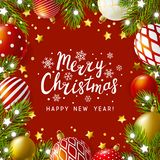 Christmas greeting card with holiday decor vector illustration