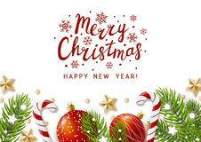 Christmas greeting card with holiday decor. On white vector illustration