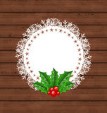 Christmas greeting card with holly berry Royalty Free Stock Photo