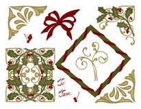Christmas Greeting Card Holly Bows and Corners Royalty Free Stock Photography