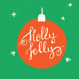 Christmas greeting card. Holly-Jolly - lettering card.  Decoration element for cards, invitations and other types of holiday design. Vector illustration Stock Photography