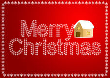 Christmas greeting card. Christmas card, with house and snowflakes, christmas background Stock Photo