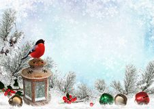 Christmas greeting card with сhristmas bells, bullfinch, lantern, pine branches and snow. Pine branches, bullfinch, berries, lantern, Christmas bells on a blue Royalty Free Stock Photos