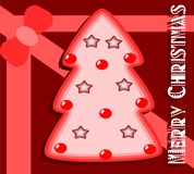 Christmas greeting card in red with artistic tree Stock Photos