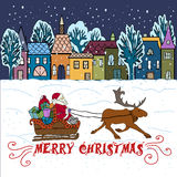 Christmas Greeting card. Illustration with Christmas elements. Decorative background vector illustration