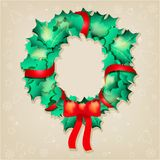 Christmas greeting card,  illustration. Christmas holly greeting card,  illustration Royalty Free Stock Images