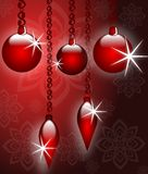 Christmas greeting card in red with sparkling decorations Royalty Free Stock Photography