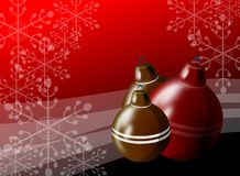 Christmas greeting card in red with decorations Royalty Free Stock Image