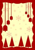 Christmas greeting card in red with bells Stock Photos