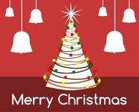 Christmas greeting card with stylized decorated tree Royalty Free Stock Photo