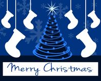Christmas greeting card in blue with decorations Stock Image